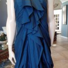 3.1 PHILLIP LIM Teal Blue Silk Strapless Ruched Bow Cocktail Party Dress 6