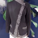 Lafayette 148 Black Knit & Tweed Button Front Blazer Jacket 10