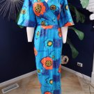 Vintage Hawaii Floral Print Bell Sleeve Maxi Dress S
