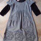 PHOEBE COUTURE Gray Layered Look Embroidered Wool Blend 3/4 Sleev Shift Dress 10