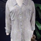 NWOT FREE PEOPLE Gray Print Button Front Semi Sheer Tunic Top Shirt Blouse M