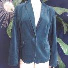 TALBOTS Dark Green Button Front Velvet Classic Jacket Blazer 14P