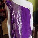 NWT $216 TRINA TURK Purple & Silver Ruffled One Shoulder Top Shirt Blouse L