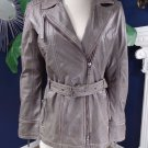 Gipsy  Taupe Zip Front Belted Leather Jacket M