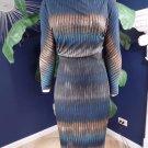 NWT Badgley Mischka Teal Printed Midi Long Sleeves Ruched Sheath Dress S