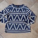 BCBG MAX AZRIA Geometic Print Jaden Slate Combo Sweater L