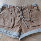 Asos  Gray Jersey & Camel 100% Leather Front Shorts 4
