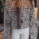 NWOT TROUVE Animal Print Faux Fur Cropped Blazer Jacket M