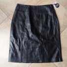 NWT JACLYN SMITH Black 100% Leather Straight Pencil Skirt 12