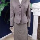 TAHARI Brown Print Wool Blend Classic Blazer And A Line Midi Skirt Suit 10