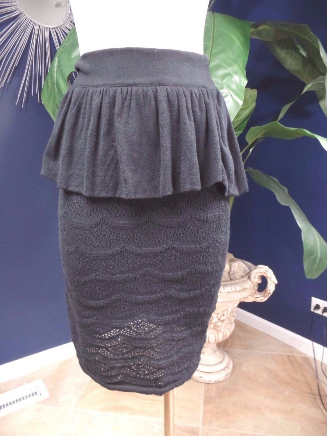 ANTHROPOLOGIE Knitted & Knotted Black Peplum Sweater Skirt S