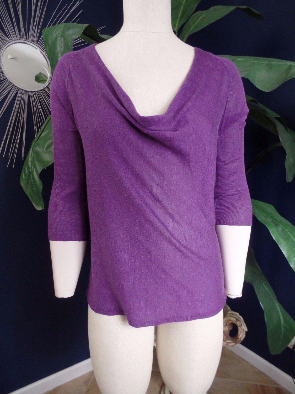 EILEEN FISHER Purple Draped Front 3/4 Sleeve Silk/Linen Thin Sweater XS