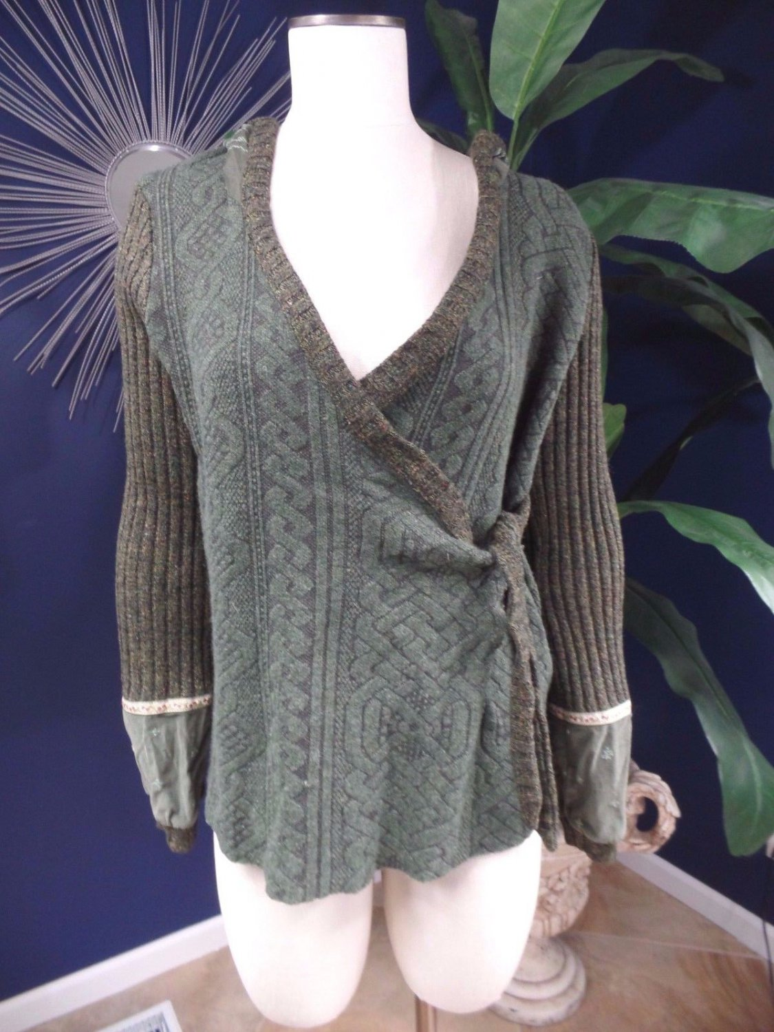 CONTAINER Juana Olive Hooded Cable Knit  Wrap Cardigan Sweater S