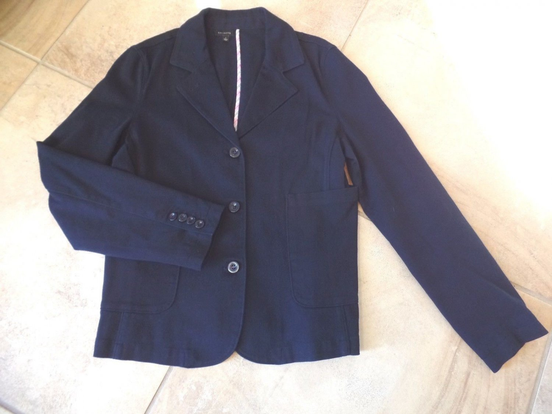 TALBOTS Navy Stretch Cotton Twill Jacket Blazer L