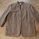 TALBOTS Brown Basket Weave Print Button Front 100% Wool Jacket Blazer 16W