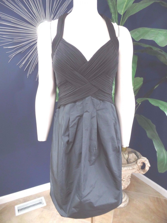 BCBG MAX AZRIA BLACK  JERSEY TAFFETA HALTER DRESS 12