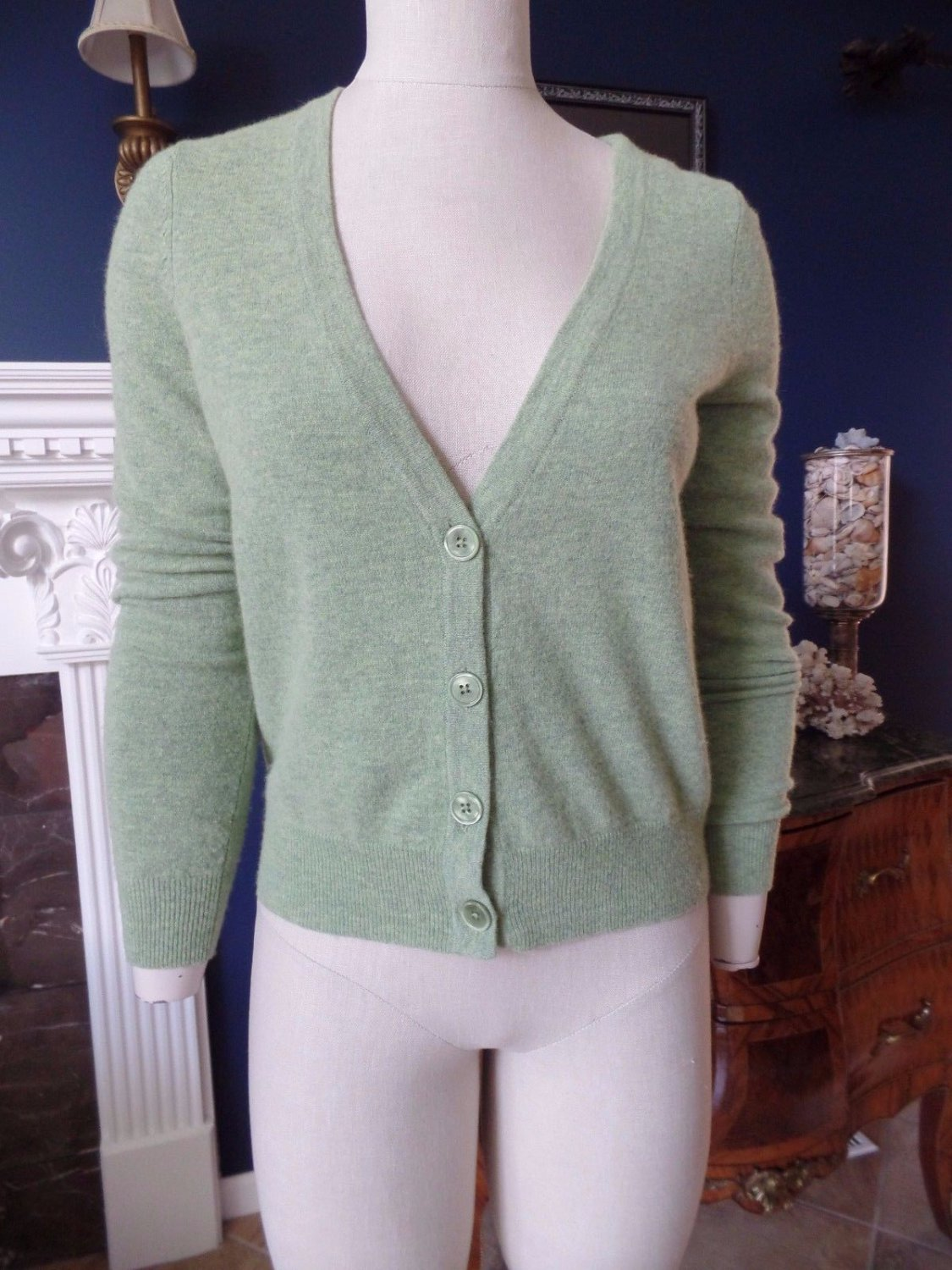 TALBOTS Green Lambwool Blend Cardigan Sweater S