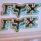 "TWO - 6"" FOX RACING Murphys GREEN MX Head Mountain ride Bike Frame Sticker Decal"