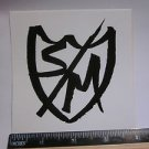 "4"" S and M S&M Black/White Shield Race Jump BMX BIKE RIDE FRAME STICKER DECAL"