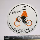 "ONE - 3.5"" VELO Orange Enjoy Life! Parts Bike Bicycle Seat Ride STICKER DECAL"