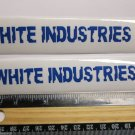 """TWO - 5"""" WHITE INDUSTRIES Blue/CLEAR Parts Bike Bicycle Bike Ride STICKER DECAL"""
