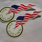 "TWO - 7"" USA CYCLING FLAG   Bike Mountain Bicycle Ride STICKER DECAL (RBRA)"