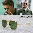 Sunglasses Men American Army Military AO Pilot Optical Glass Lens Eyewear 54mm