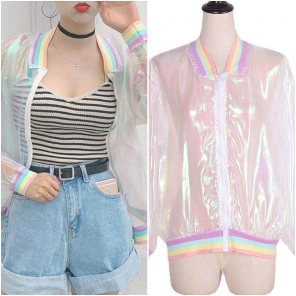 Jacket Transparent Women Holographic Harajuku Style Vintage Laser Rainbow Coat