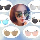 Fashion Women Gothic Eyewear Skull Frame Metal Sunglasses Mirror Lens Cat Eye