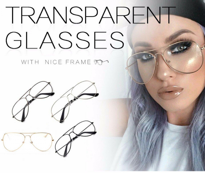 Aviator Metal Frame Sunglasses Lens Clear Vintage Eyeglasses Fashion Style Round
