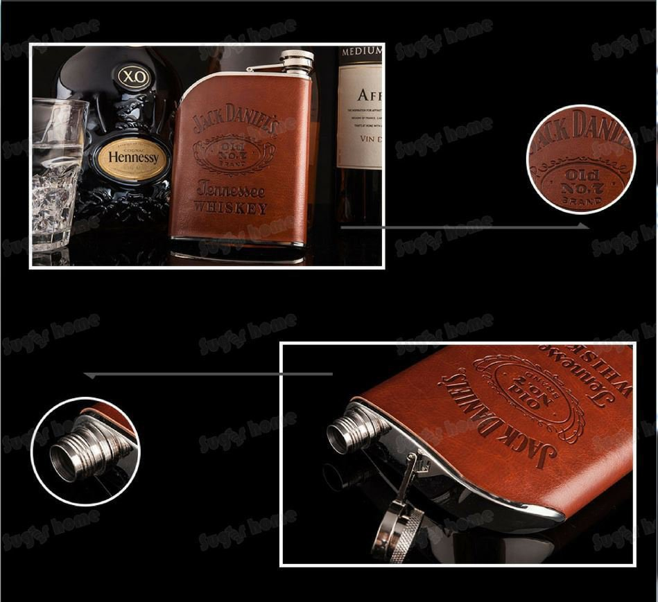 Flask Hip Stainless Steel Jack Daniels 6oz Flagon Whiskey Liquor Wine Rum Gift