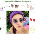 Hexagon Metal Frame Sunglasses Small Frame Fashion Vintage Glasses Eyewear Style