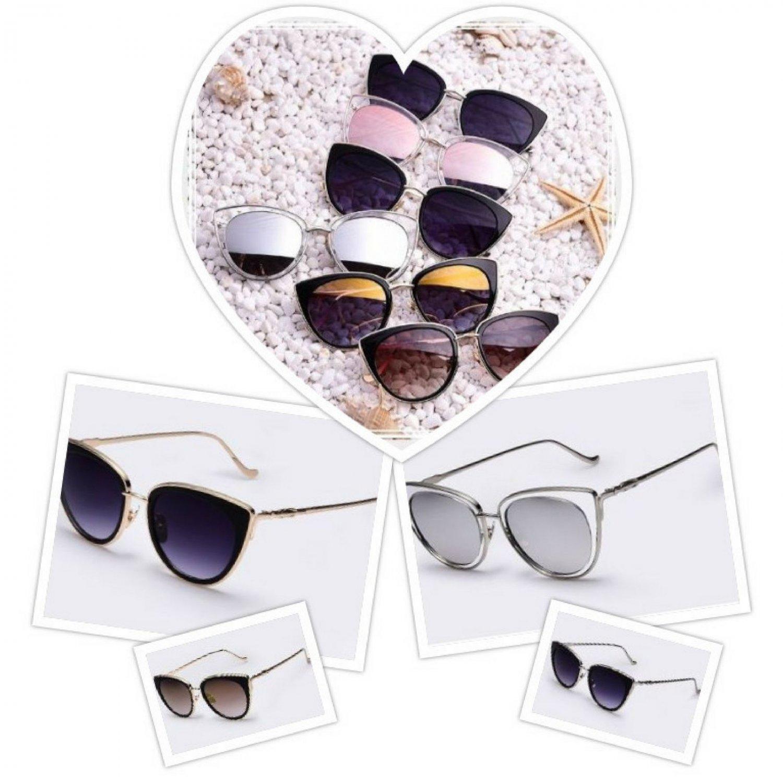Cat Eye Mirrored Fashion Sunglasses Women Metal Frame Famous Designer Retro Pink