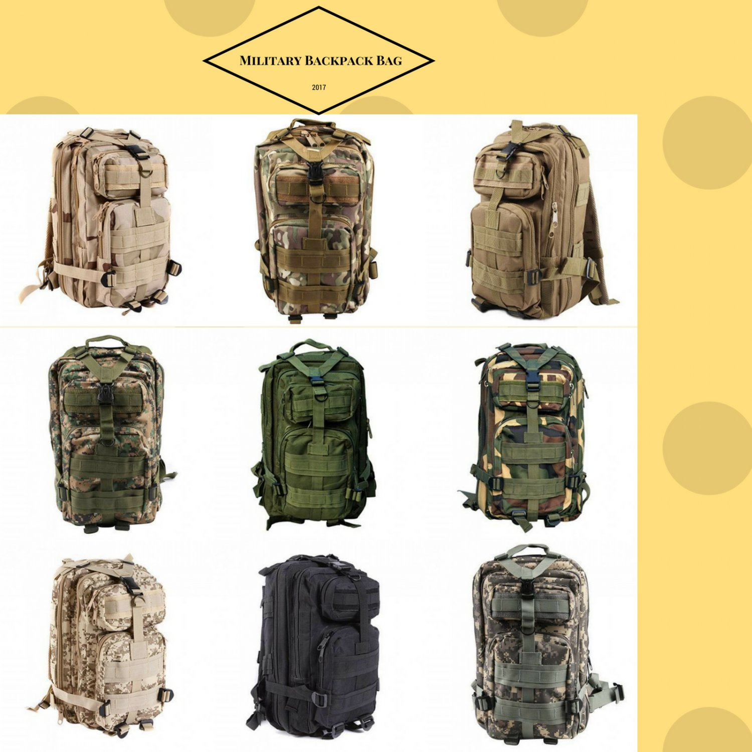 Bag Military Backpack Outdoor Canvas Sport Tactical Camping Mens Laptop Travel