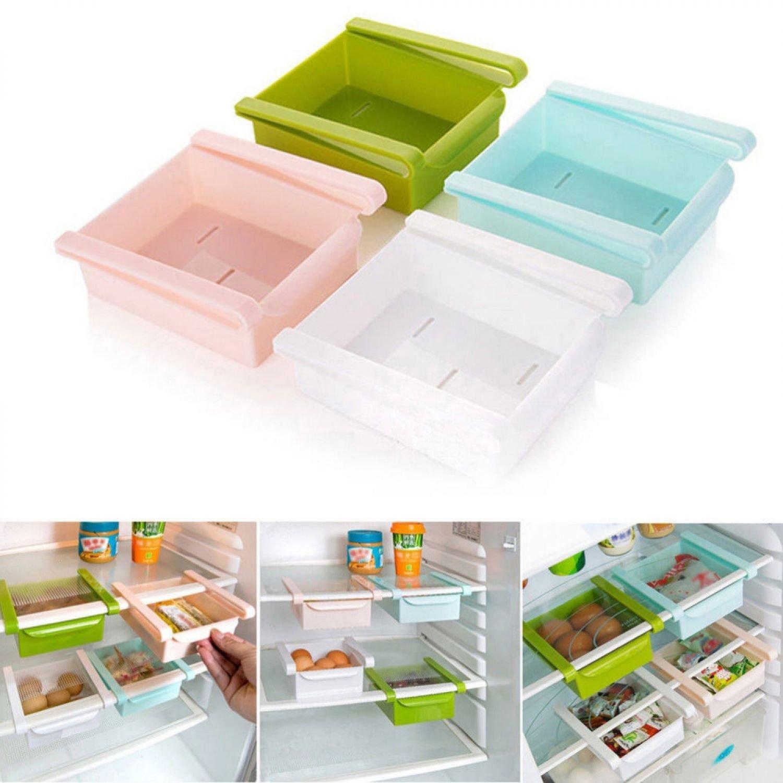 Rack Shelf Holder Slide Kitchen Fridge Freezer Space Saver Organizer Storage Box