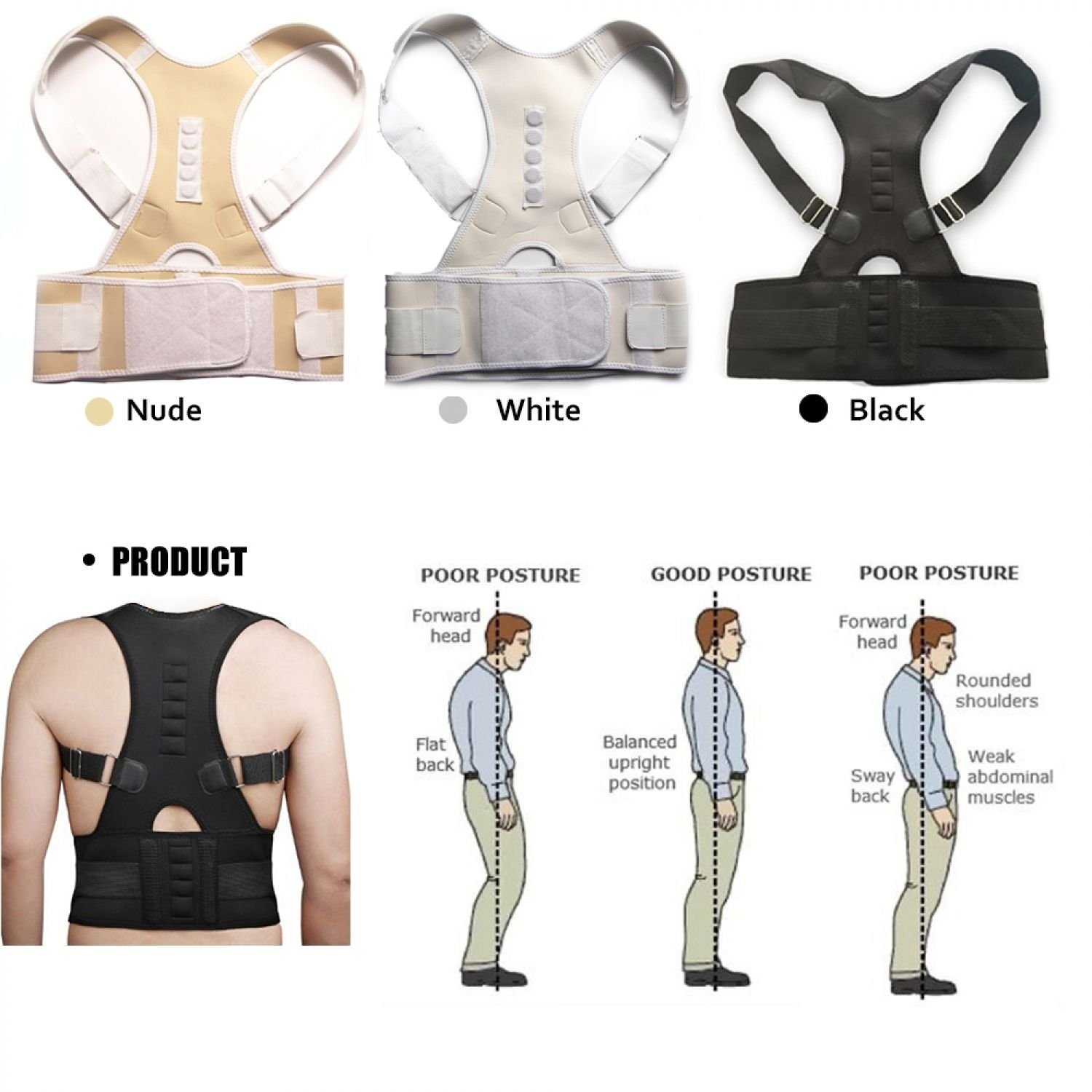 Magnet Posture Back Shoulder Corrector Therapy Adjustable Support Brace Belt