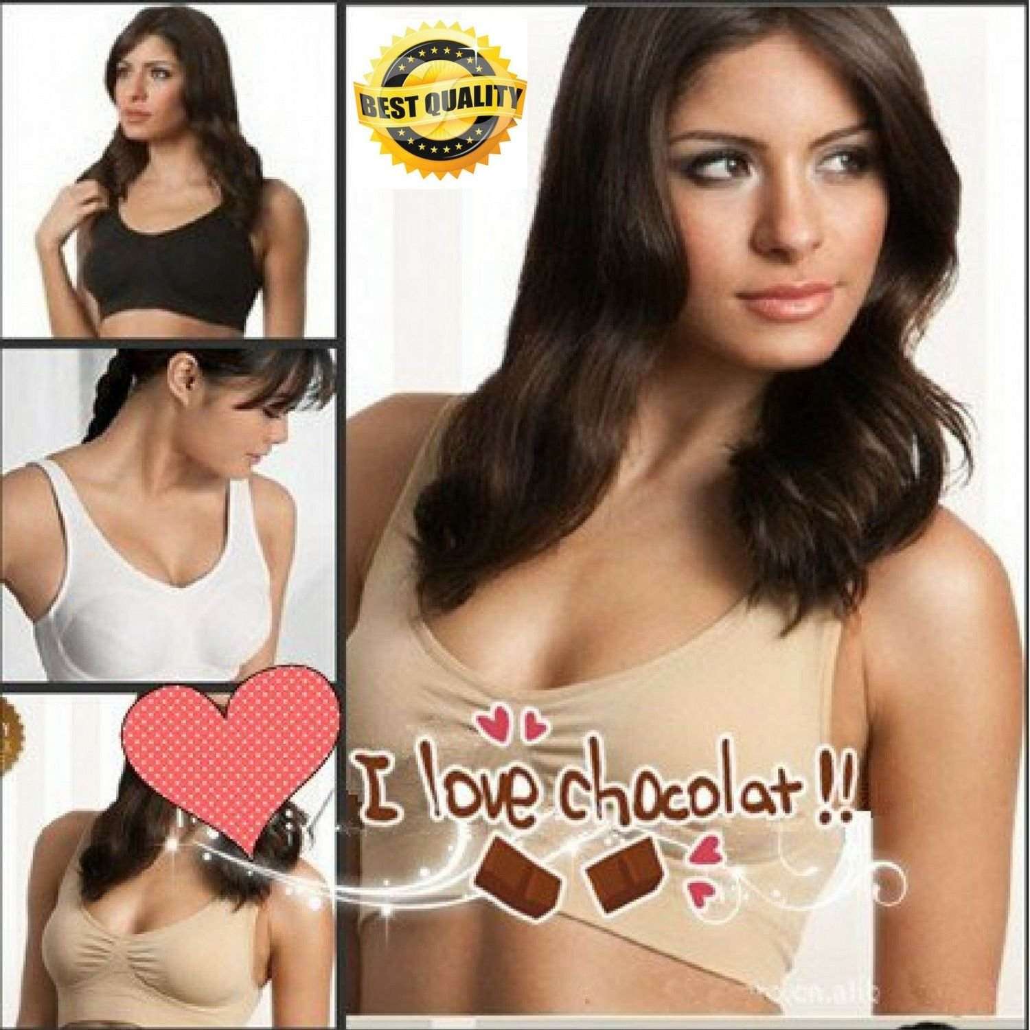 Genie Bra With Removable Pads Women's Two-double Shapers Pack 3 Shape Wear Vest