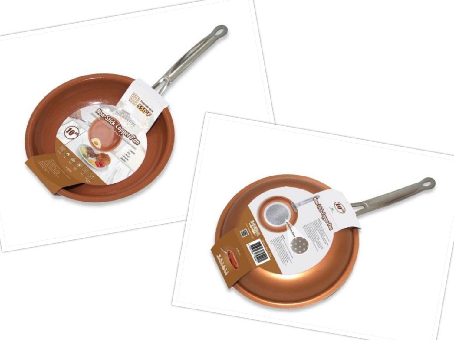 Non-stick Copper Frying Pan with Ceramic Coating Eco-Friendly Oven Safe 10 Inch