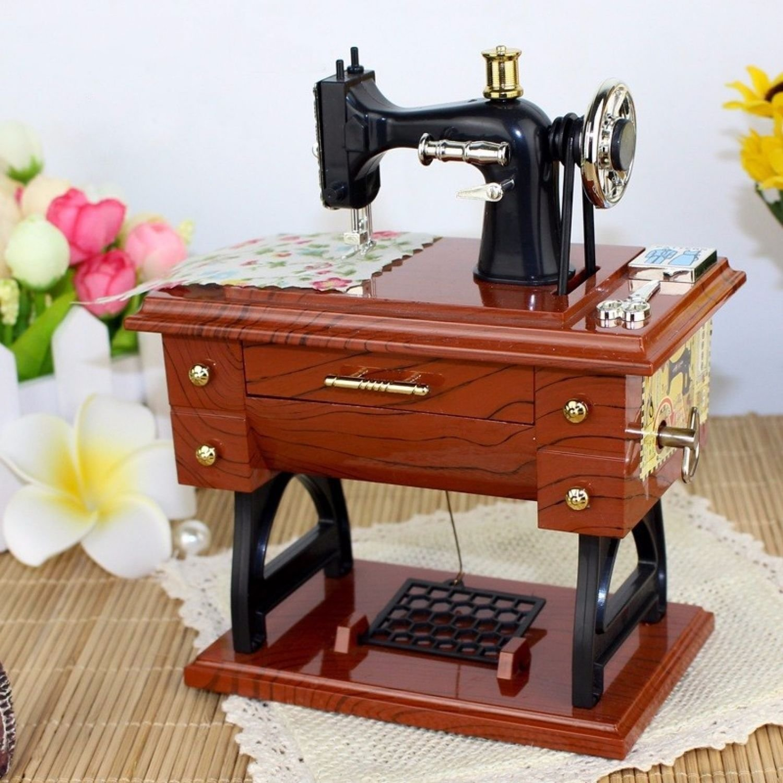 Sewing Machine Singer Case Vintage Music Box Retro Antique Gift Home Decor Toys