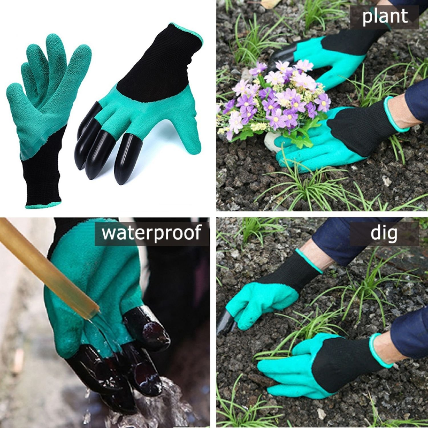 Garden Gloves for Digging & Planting with 4 ABS Plastic Claws Gardening Plastic