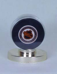 Collector Safe Hockey Puck Holder w/Gold Base