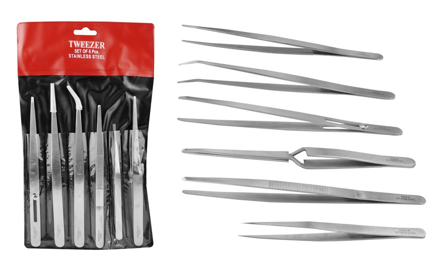 6 Piece Stainless Steel General Purpose Tweezers Set