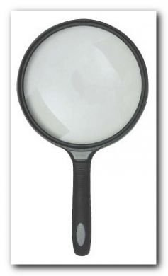 "Extra Large 5.5"", 2.5 power magnifier w/ rubber handle"