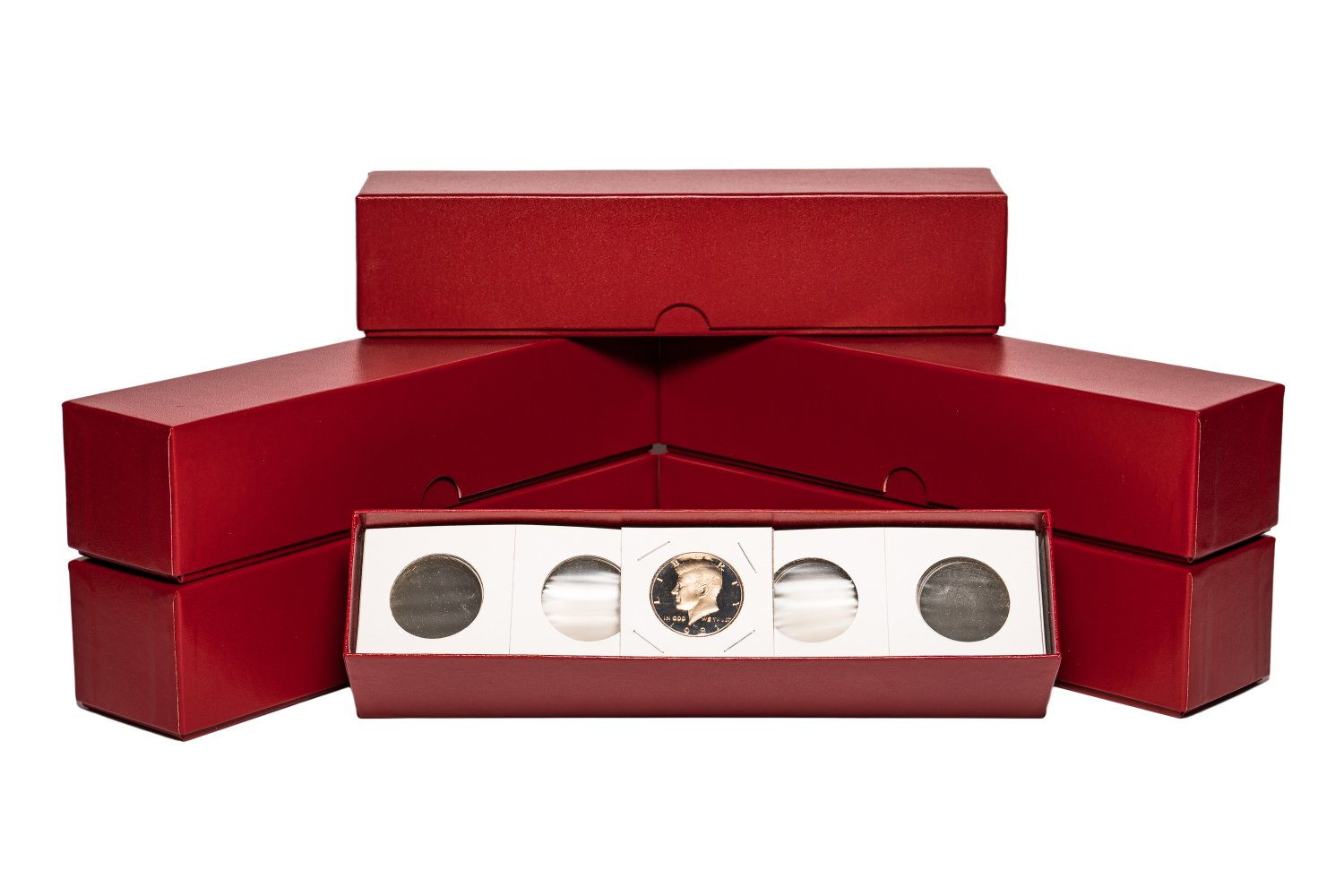 """2"""" x 2"""" ( 6 Pack ) Half Dollar Coin Flips w/Red storage boxes. ( 600 Coin Flips )"""