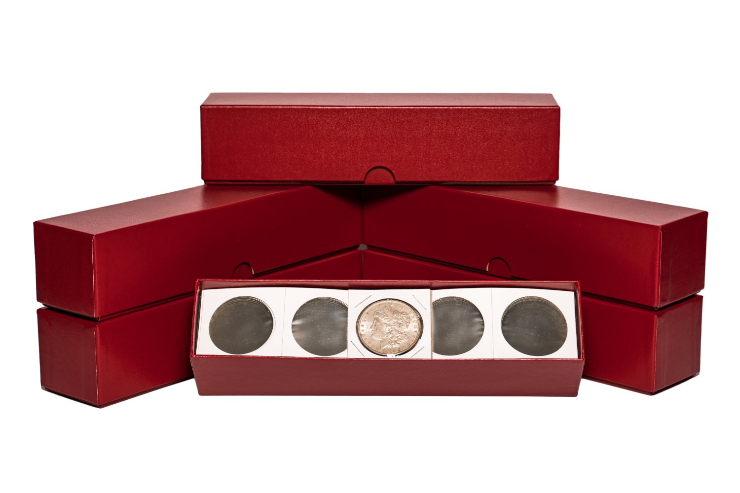 "2"" x 2"" (6 pack) Lg Dollar Coin Flips w/Red storage boxes. (600 Coin Flips)"