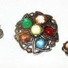 Scottish Celtic Brooch Earring Set Art Glass Stones Silver Metal Vintage