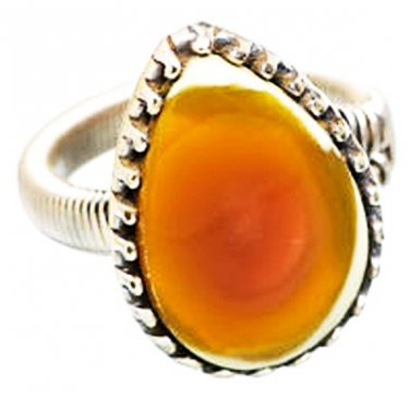 Orange Ocean Jasper Ring Signed 925 Sterling Silver Teardrop Sz 8 New