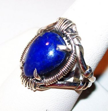 Blue Lapis Lazuli Ring 925 Sterling Silver Tear Drop Size 8.75 New