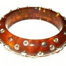 "Apple Juice Bangle Bracelet Celluloid Silver Metal Circles 1"" W Vintage"