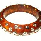 "Apple Juice Bangle Bracelet Celluloid Silver Metal Circles 1"" W Vintage"